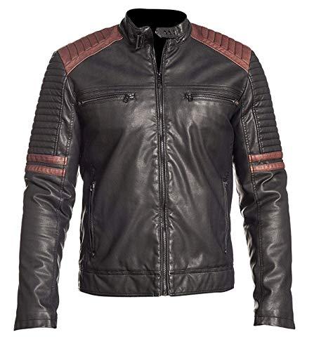 NMFashions Chamarra de Cuero para Motociclista, Estilo Vintage, Color Negro
