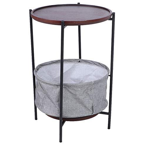 Mesa de café redonda, mesa de cóctel de estilo industrial, mesa de café retro con cesta de tela, estructura duradera de metal, para salón, dormitorio, 36 x 36 x 55,3 cm