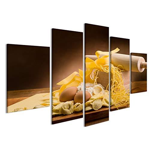 islandburner Quadro Moderno Pasta Fatta in casa Italiana Tradizionale con ingredienti Stampa su Tela - Quadro x poltrone Salotto Cucina mobili Ufficio casa - Fotografica Formato XXL
