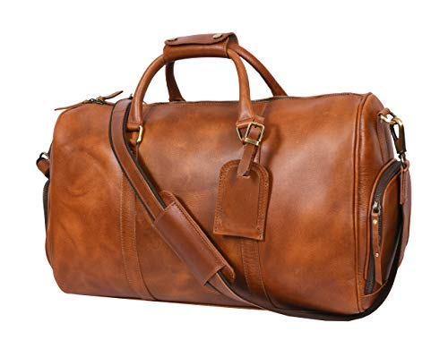 19 Inch Leather Travel Duffle Bag For Men Overnight Weekend Luggage Carry On Duffel Bag (Brown)