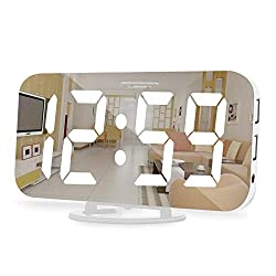 Digital Alarm Clock,6.5 Inch Large Display LED Mirror Electronic Clocks, with Snooze,12/24H,Dual USB Charging Ports, 3 Adjustable Brightness,for Bedroom Home Office -White