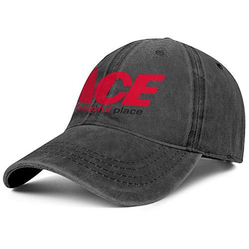 Unisex Men Denim Baseball Hat Hipster Adjustable Mesh Captain Ace-Hardware-Logo-Flat Caps