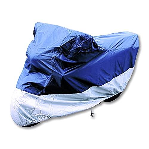 hitools XXL Motorrad Ganzgarage, Abdeckplane - Motorradabdeckung - blau/Silber - 246 x 105 x 127 cm