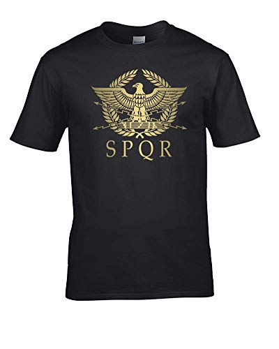 """Ice-Tees - Camiseta con diseño del águila del imperio romano con la inscripción """"SPQR"""" negro negro Large"""