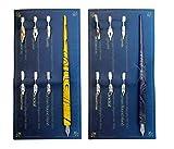 Hillento madera de mármol manga caligrafía kit lápiz de dibujo, profesional cómica pluma de inmersión, incluye 2 mangos porta lapiceros cómicas, 12 puntas para las letras dibujo, arte, azul y amarillo