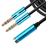 NANYI 3.5mm 4 Pin Female to 2x3.5mm 3 Pin Male Headphone Converter Head Audio Splitter Y Adapter Cable (Blue-3ft)