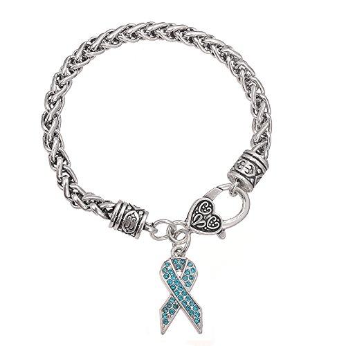 Pulsera con cierre de mosquetón para mujer, diseño de lazo de concienciación sobre el cáncer con piedras de cristal turquesa