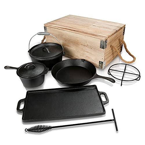 EINFEBEN 7-teiliges Dutch Oven Set in Holzkiste, Dutch Oven(4.5qt),Grillplatte, Stieltopf, Bratpafanne, Untersetzer, Deckelheber, bereits eingebrannt, Garten Camping BBQ,Gusseisen Kochtopf