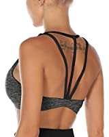 Melpoint Sports Bras for Women - Strappy Workout Fitness Yoga Running Bra - Athletic Activewear Tops (Charcoal, S)