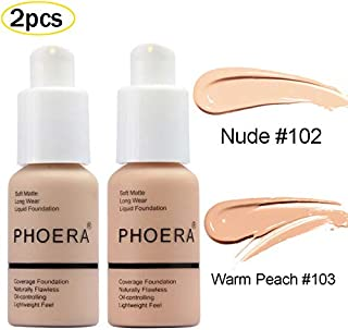 2 Pcs PHOERA Soft Matte Full Coverage Liquid Foundation Brighten Highlighting Matte Oil Control Concealer Facial Blemish Concealer Color Changing Foundation for Women Girls