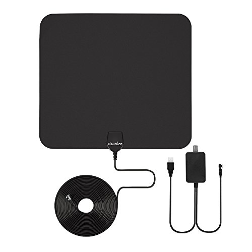 HDTV antenna indoor, Visualar™ TV antenna for digital TV indoor,50+ miles range with Detachable Signal Amplifier Booster for 1080P High Reception, Aluminum foil antennal