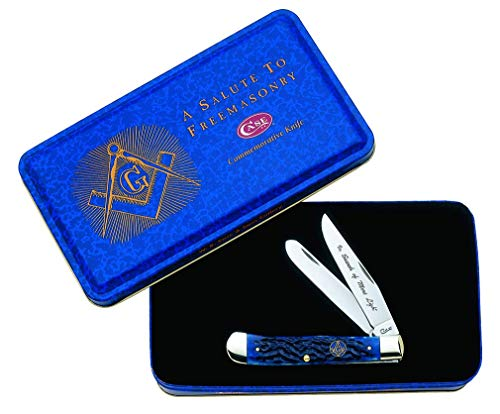 CASE XX WR Pocket Knife Blue Bone Masonic Trapper W/Gift Tin Item #1058 - (6254 SS) - Length Closed: 4 1/8 Inches