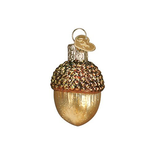 Old World Christmas Ornaments: Small Acorn Glass Blown Ornaments for Christmas Tree (28051)