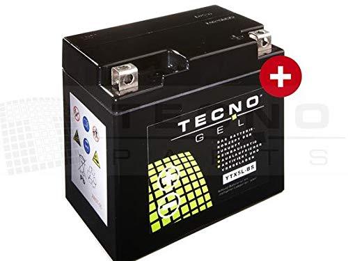 TECNO-GEL Motorrad-Batterie YTX5L-BS, 12V Gel-Batterie 6Ah statt üblicherweise 5Ah (DIN 50412), 113x69x105 mm inkl. Pfand
