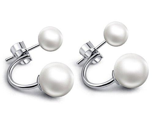 Butterme - Orecchini da donna, in argento fine 925e perle, idea regalo, colore: perla, cod. ZM000021