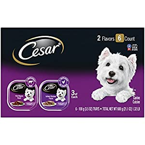 Cesar Soft Wet Dog Food Classic Loaf in Sauce Filet Mignon and Grilled Chicken Variety Pack, (6) 3.5 oz. Easy Peel Trays
