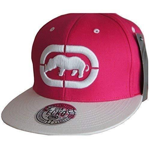 Ecko Snapback Gorra unisex con visera plana, gorra de béisbol retro color rosa y blanco Taille unique