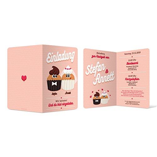30 x Hochzeit Einladungskarten Einladung Klappkarten individuell süß - Cute Cupcakes