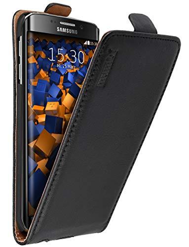 mumbi Echt Leder Flip Case kompatibel mit Samsung Galaxy S6 Edge Hülle Leder Tasche Case Wallet, schwarz