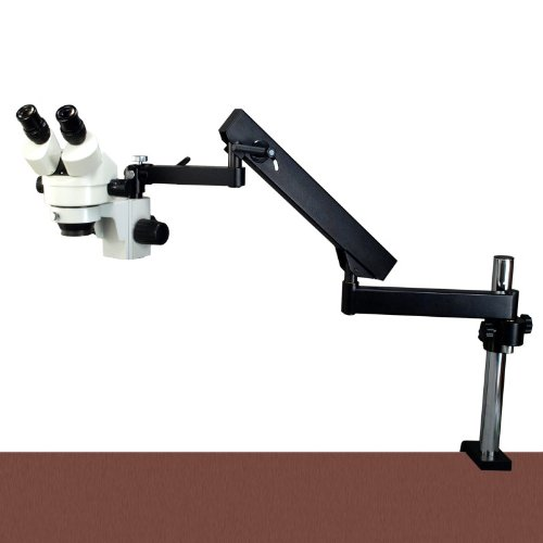OMAX 2.1X-45X Zoom Binocular Articulating Arm Stereo Microscope with Vertical Post
