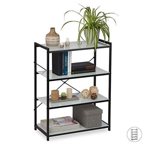 Relaxdays Standregal Glas, modernes Metallregal mit Glasböden, quer, 4 Fächer, Küche & Bad, HBT 79 x 60 x 30 cm, schwarz, Eisen