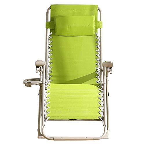 JGWJJ Gravity Lounge Chair Breitere Armlehne Verstellbare Liege mit Getränkehalter, Unterstützung 350 £ (Farbe : Grün)