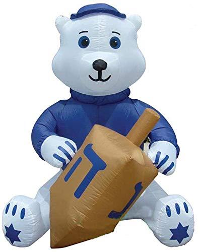 Air Blown Inflatable 7' Hanukkah Bear Holding A Dreidel Yard Decoration