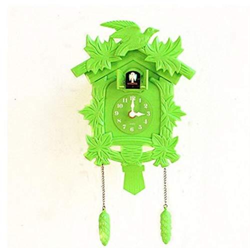 SNJ Reloj de Cuco Sala de Estar Reloj de Pared Reloj de Alarma de Cuco Reloj Moderno Breve Decoraciones Infantiles Alarma para el hogar, Verde