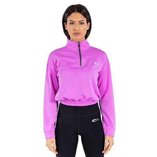 SMILODOX Damen Half Zip Sweater Glam   Sweater für Sport Fitness Training & Freizeit   Jacke mit Kragen   Half Zip, Größe:L, Farbe:Lila