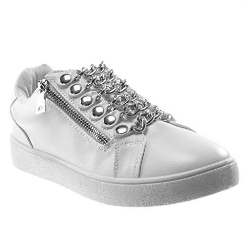 Angkorly - Damen Schuhe Sneaker - Tennis - Sporty chic - Kette - Nieten - besetzt - metallisch Flache Ferse 3 cm - Weiß BA69 T 38