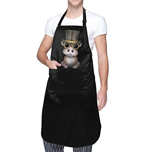 N\A Steampunk Baby Hippo Sticker Delantales Impermeables Ajustables Unisex con 2 Bolsillos, para Cocina, Manualidades, Barbacoa, Dibujo, Cocina