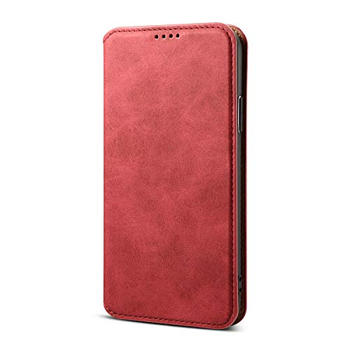 TACOO Wallet Case Compatible with Apple iPhone Xs/X,Leather Slim Full Protection Kickstand Red Soft Fold Money Card Holder Girl Women Cover Shell for iPhone X 5.8 Inch 2017,iPhone Xs 5.8 inch 2018