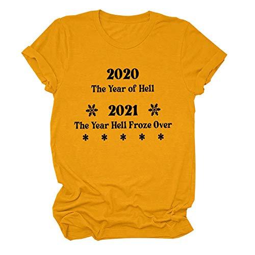 Sky Cloud 2020 El Año del Infierno 2021 El Año Infierno congelado por Camiseta Premium Camisa gráfica Divertida para Mujer (Color : Orange, Size : XXX-Large)
