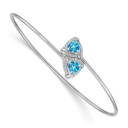 10mm 14ct White Gold Blue Topaz Flexible Cuff Stackable Bangle Bracelet Jewelry Gifts for Women