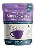 Bare Bones SuperPowder Instant Coffee Creamer, Sweet and Creamy, Sugar-Free, Soy-Free, Gluten-Free, Keto & Paleo Friendly, 8g Protein, 0.88oz, Pack of 10