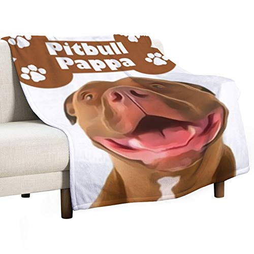 Pitbull Pappa Lightweight Cozy Bed Quilt Anime Flannels Blanket Fit Couch Sofa Baby Blankets for Kids Adults Indoor Bedroom House Bedding Warming 80 x 60 inches