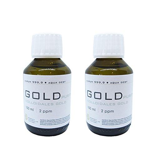 Oro coloidal 2 x 100 ml   botella de cristal marrón de 2 ppm cierre original puro