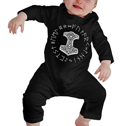 Vikings Mjolnir Rune Wheel Norse Mythology Symbol Newborn Baby Boy Romper Jumpsuit Infant Baby Girl Winter Outfit Cotton Black