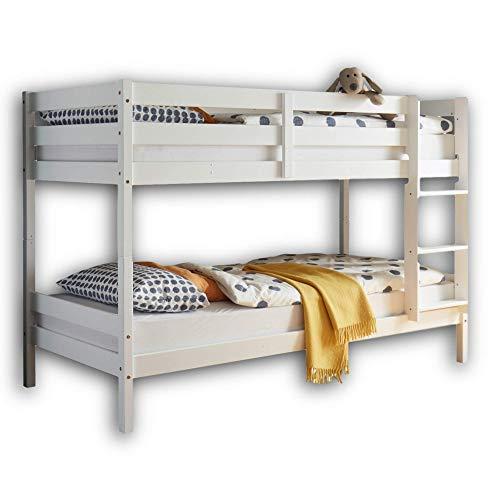 Stella Trading MORITZ Hochbett mit Leiter & zwei Liegeflächen 90 x 200 cm - Platzsparendes Kinder Etagenbett aus massiver Kiefer, weiß - 97 x 140 x 207 cm (B/H/T)