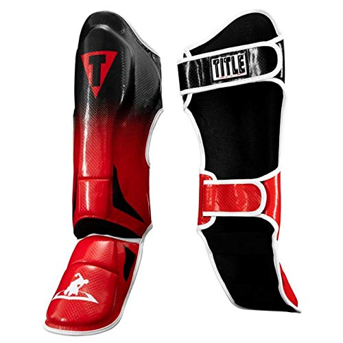 Title MMA Traditional Shin Instep Guards, Black/Red, Regular