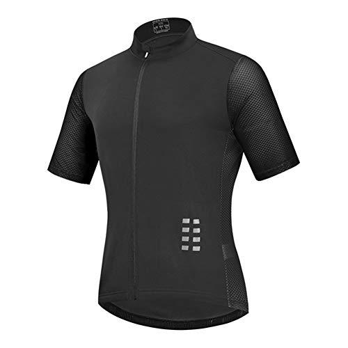 Maillot Ciclismo Hombre, Manga Corta Camiseta, Tops Ciclismo Bicicleta Bici Transpirable Secado Rápido Reflectante Jersey (Black,XXXL)