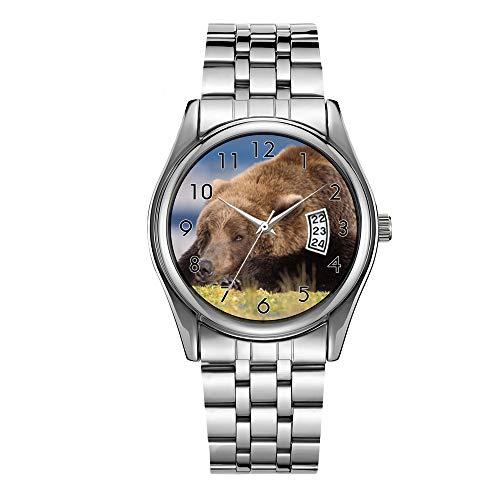 Luxus Herrenuhr 30m Wasserdicht Datum Uhr Männlich Sportuhren Männer Quarz Casual Weihnachten Armbanduhr Braun Bär, Ursus Arctos, Grizzly Bear, Ursus 8 Armbanduhren