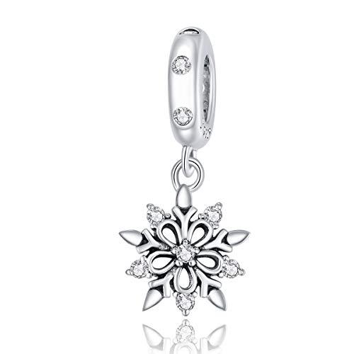 Colgante de copo de nieve de plata de ley compatible con pulseras y collares europeos Pandora.