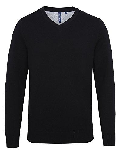 Asquith & Fox Herren Men's Cotton Blend V-Neck Sweater Sweatshirt, Blau (Royal Heather 000), XX-Large (Herstellergröße: 2XL)