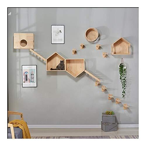 Multi-Level-Kratzbaum Wohnung mit Kratz Perches, Katzenkorb Lounger und Leiter, Deluxe Cat Turm Kitten Play House Wand-Massivholz-Cat Climbing