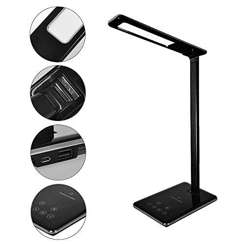 XASY LED bureaulamp met draadloos laadstation - USB kantoor tafellamp touchbediening dimbaar met 4 kleuren en 6 helderheid - Qi Fast Wireless Charger snellader - Timer Poweroff