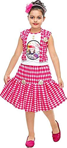Girl s Cotton Printed Top and Skirt Set Pink