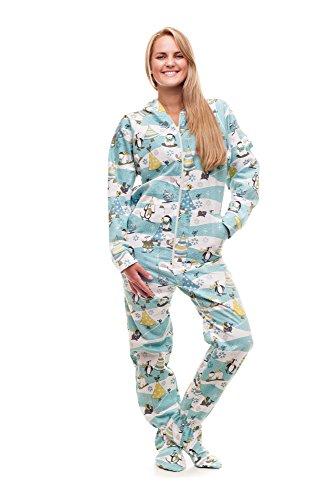 Kajamaz Weihnachtsmorgen Schlafanzug mit Füßlingen für Erwachsene Strampler für Erwachsene , Weiß, Blau, Grau, Grün,S