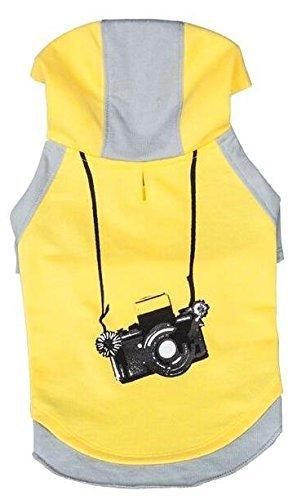 Blueberry Pet 30cm Rückenlänge Hundebekleidung Polo T-Shirt Kleid Baumwolle Kamera Hunde-Kapuzenshirt in Grau & Gelb, M