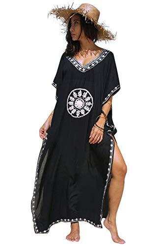 Landove Vestido Boho Mujer Largo Talla Grande Camisolas y Pareo Caftan